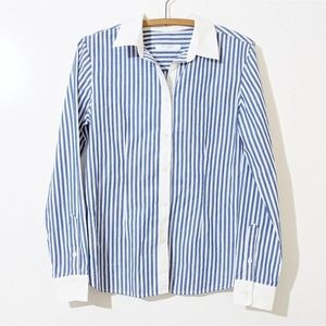 Equipment Femme Blue White Striped Button Up Top